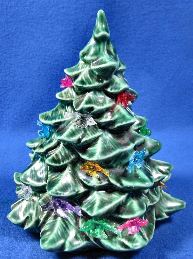 Mini Green Ceramic Christmas Tree 6 1 2 Inches Tall W Plastic