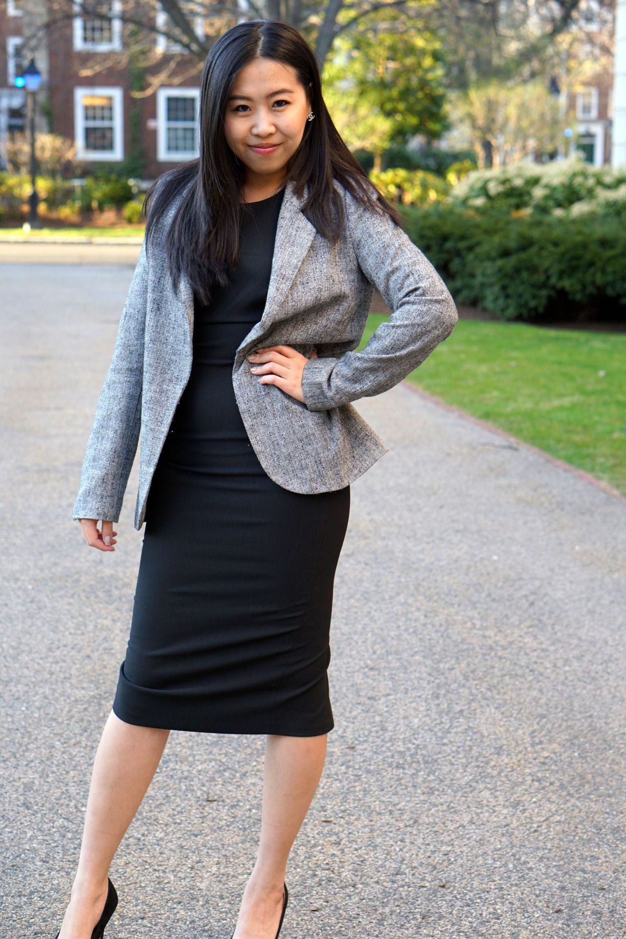 Black Halter Dress With Long Grey Blazer Skirt The Ceiling Rok [ 1920 x 1280 Pixel ]