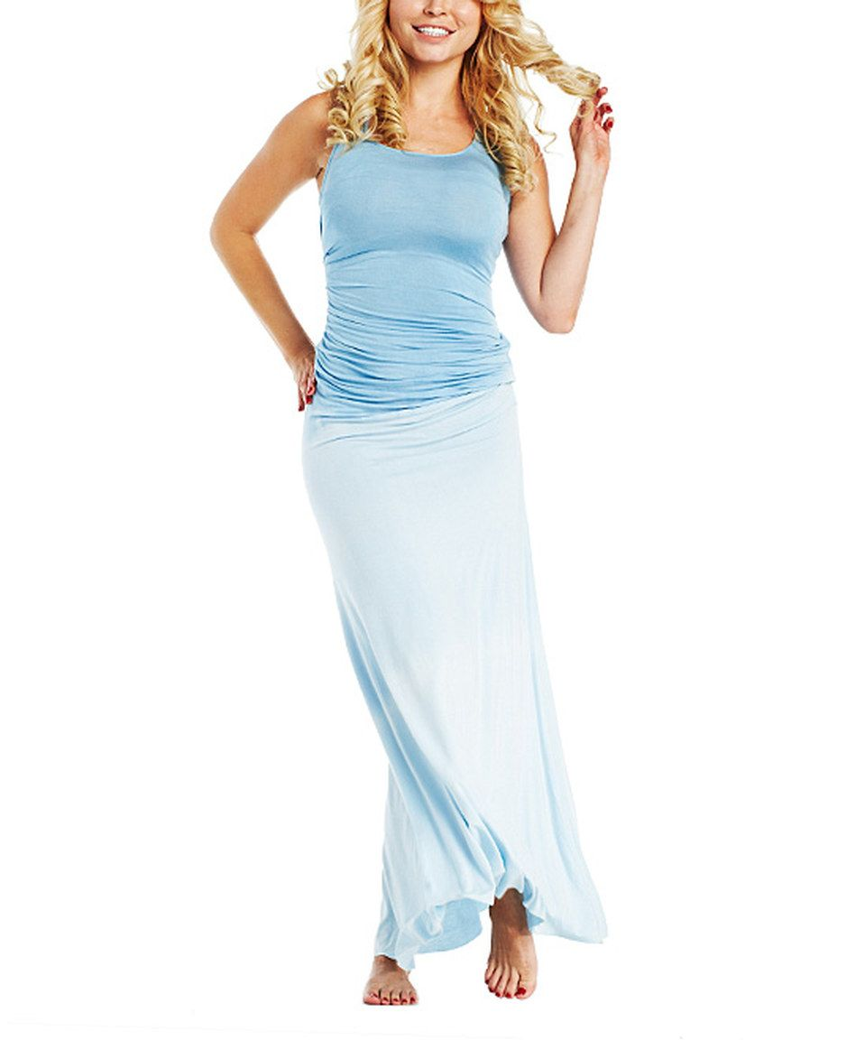 Another great find on #zulily! Emotion Apparel Baby Blue Ruched Maxi Dress by Emotion Apparel #zulilyfinds