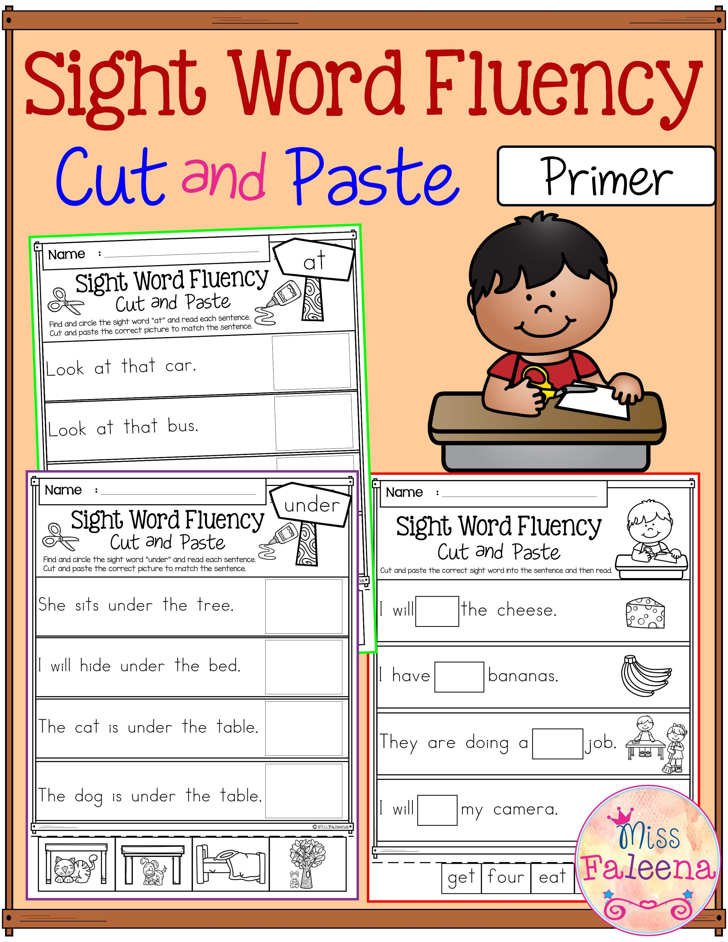 sight word fluency cut and paste primer pinterest kindergarten