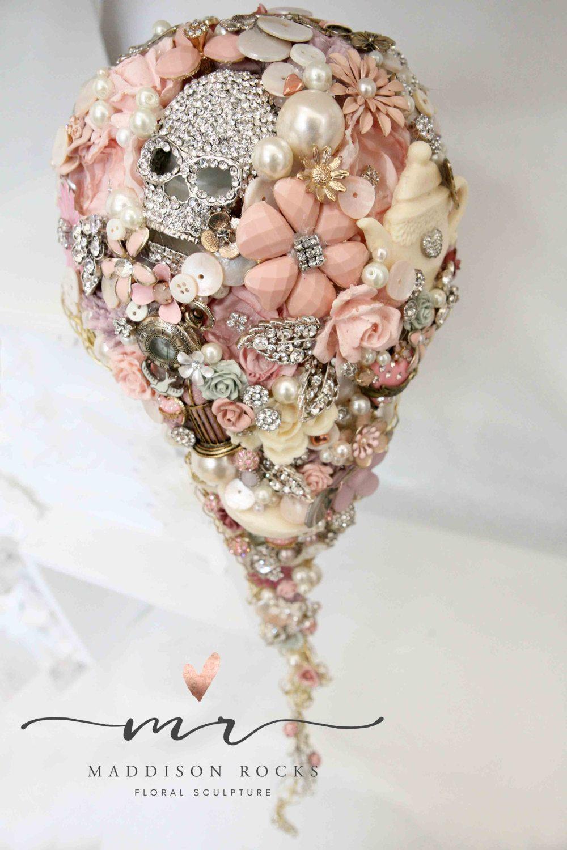 Cascading Whimsical Alternative Bouquet Brides Vintage And Retro Brooch Rhinestone On Fl Flower Wedding Posy