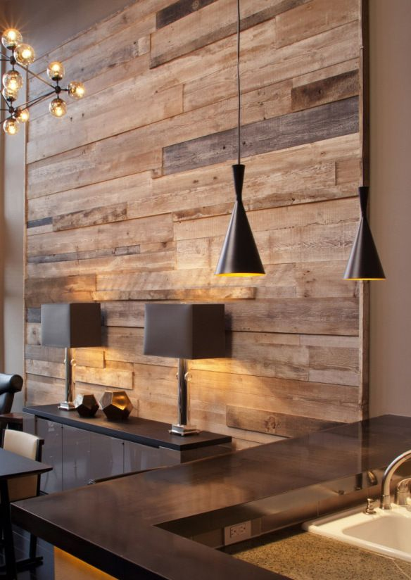 Contemporary, sleek dining room with rustic wood plank