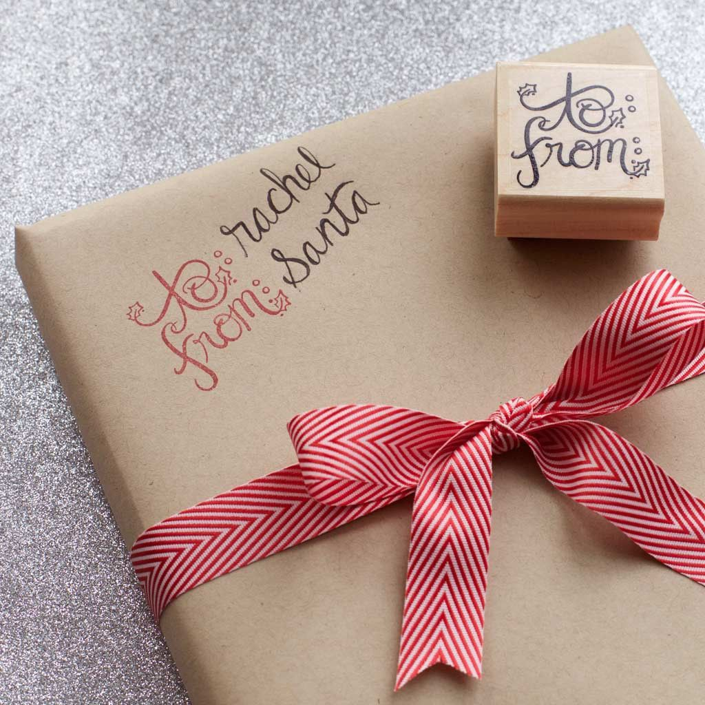 Stamp your gift tags directly on your the wrapping paper this holiday season. Or make your own christmas gift tags with some scrap paper and with this hand lettered gift tag stamp. Use any color of in
