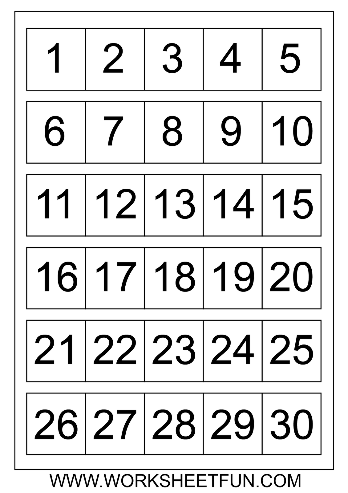 Worksheet Printable Numbers 1-20 number counting chart 1 20 pritnable count write their large printable numbers 100 to dot with puzzles fill in the