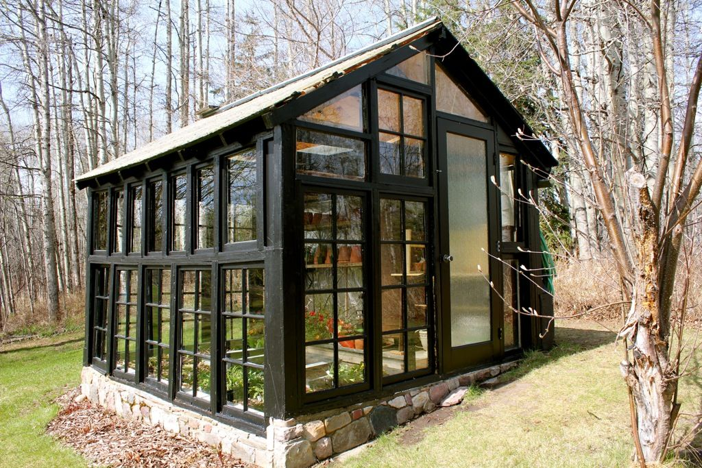 Greenhouse Made From Old Windows Cabinorganic Check Out The Stone Foundation