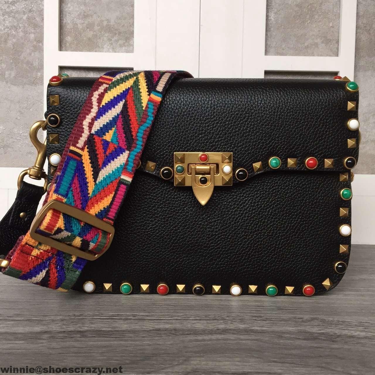 Valentino Garavani Rockstudded Rolling Cross Body Bag With Multicolor Stones 2016