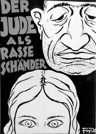 Jude als Rasse Schänder/Jew as Racial Molester - An antisemitic caricature depicting the Jew as defiling the Aryan race.