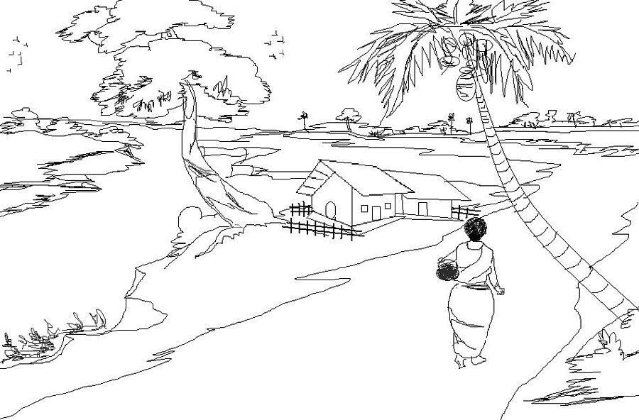 Line Art Village : Simple indian village scene drawing