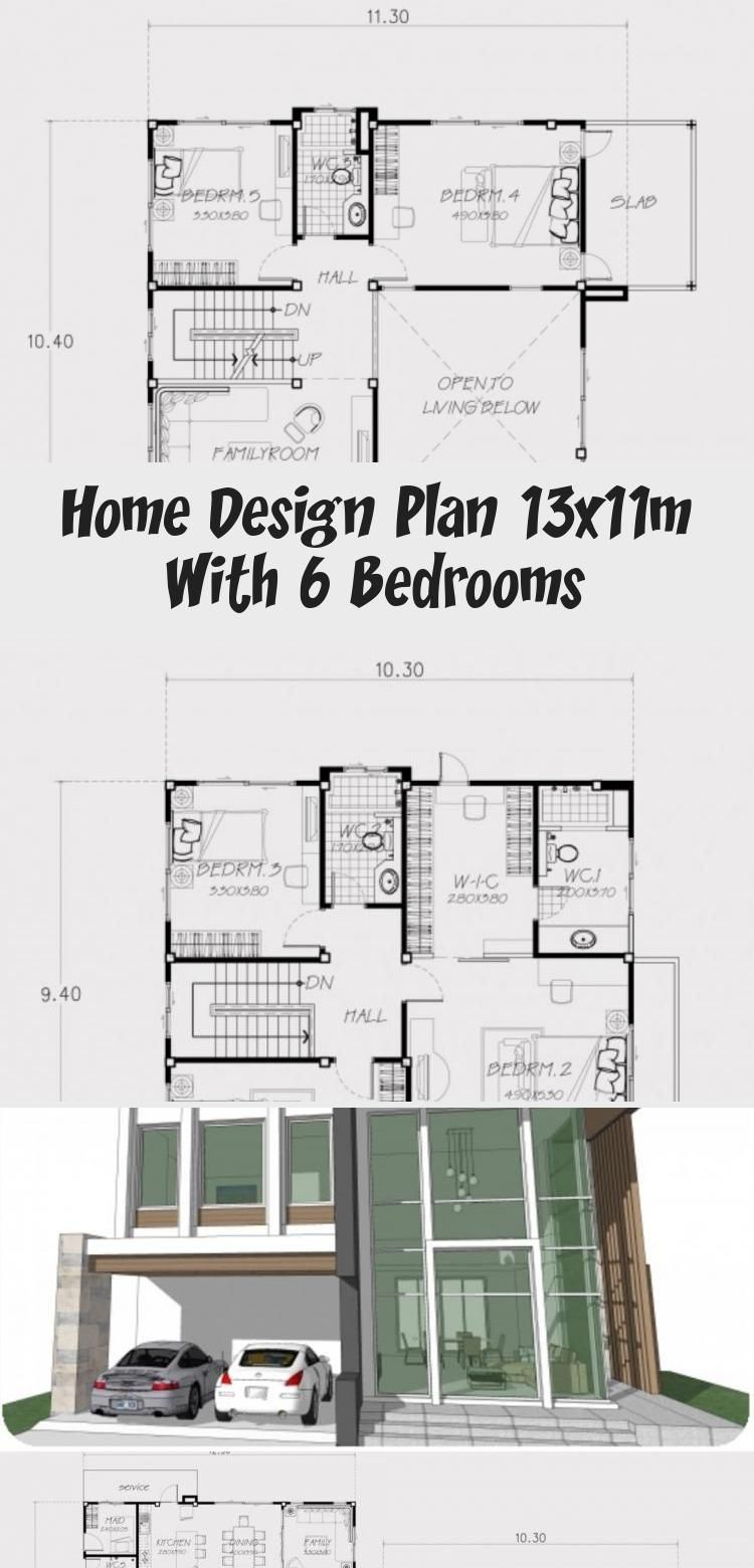 Home Design Plan 13x11m With 6 Bedrooms Home Ideassearch Home Design Plan House Design Modern House Floor Plans
