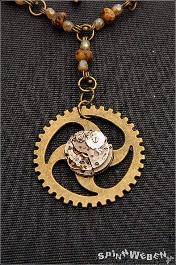 necklace clockwork steampunk vintage accessories copper gears angel bat jewelry wing