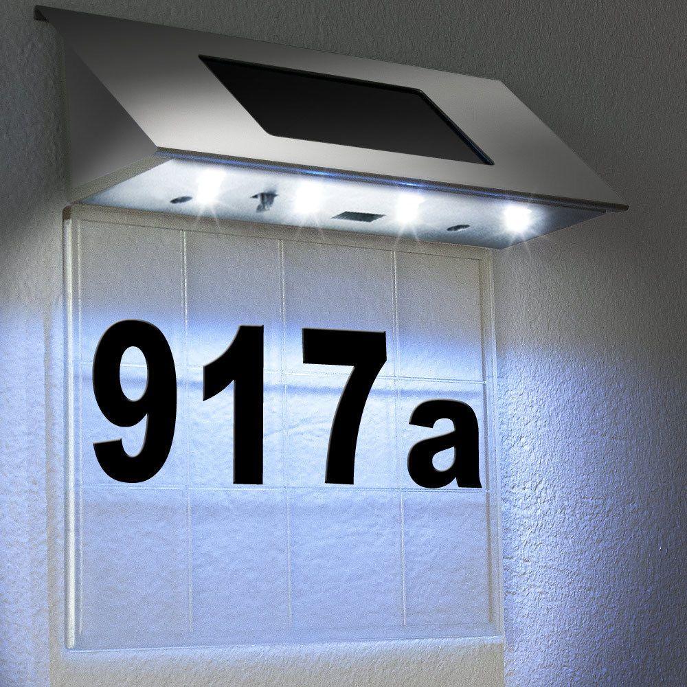 Solar Hausnummer Beleuchtung Hausnummernleuchte Beleuchtet Edelstahl Design Led Heimwerker Eisenwaren Solarleuchten Hausnummer Beleuchtet Aussenwandleuchte