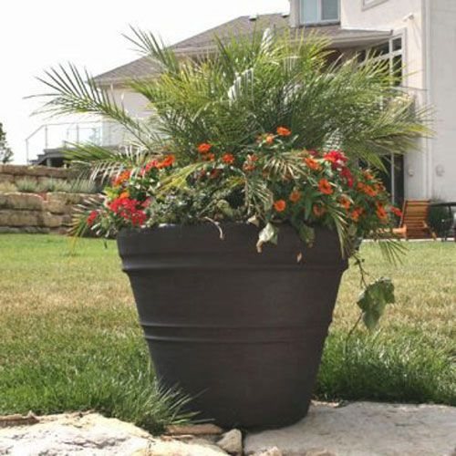 Poly Resin Rolled Rim Planter Large Outdoor Planters Resin Planters Outdoor Planters