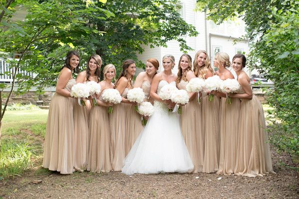 Gold And White Bridal Party Bridesmaid Dresses With Pale Peony Bouquets Photo Love