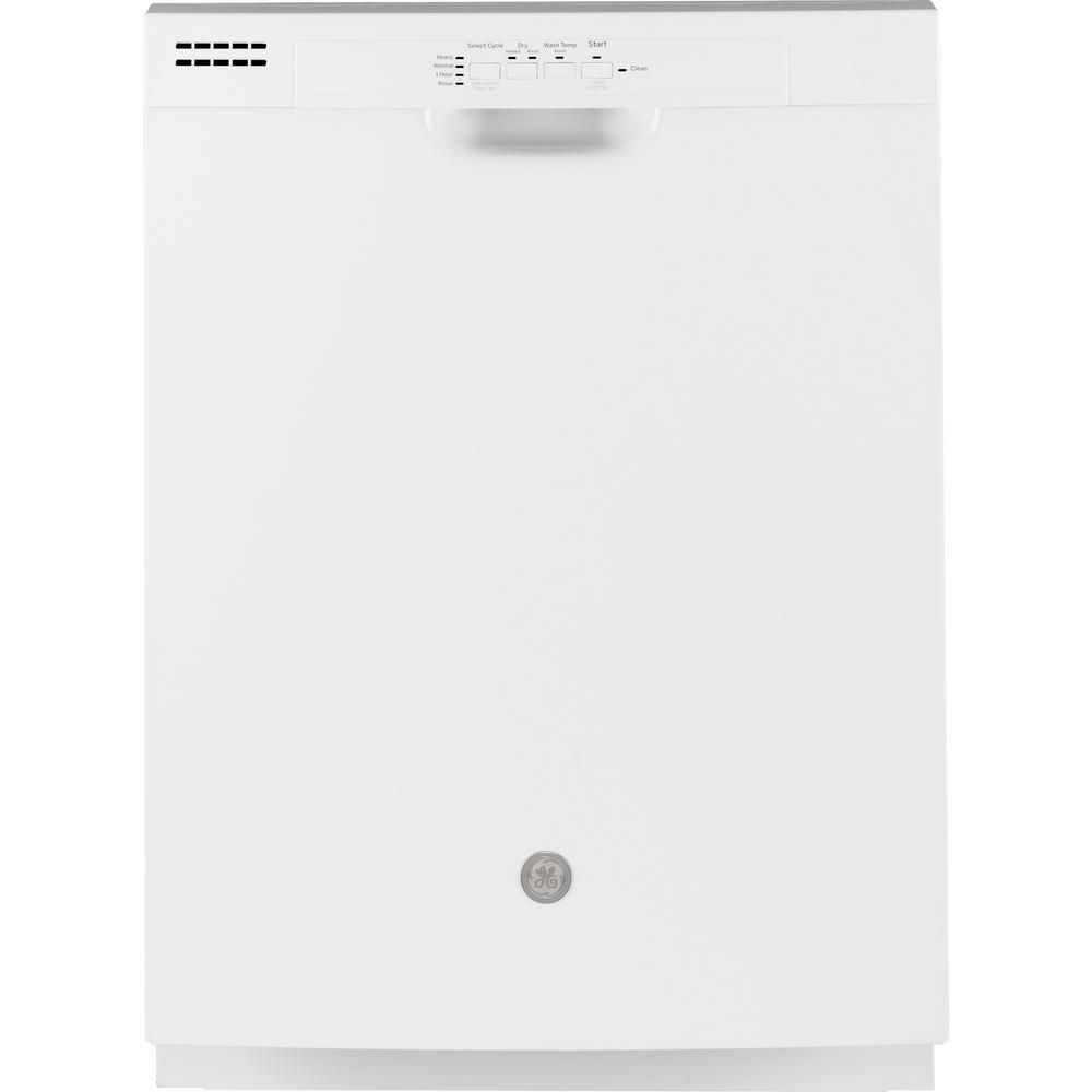 Ge 24 In Front Control Built In Tall Tub Dishwasher In White 59 Dba Gdf510pgmww The Home Depot Built In Dishwasher Dishwasher White Ge Dishwasher