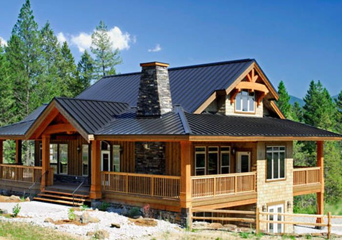 This wonderful post and beam cedar home design showcases