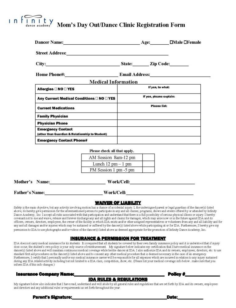 Academy Registration Form Templates Word Excel Fomats Word