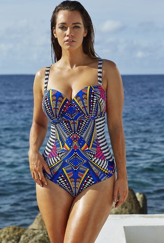 22c6adf91fa74 Tribal print Multi color Swimming Suit Plus Size full figure Swimwear Push  Up Bra Bathing Suit