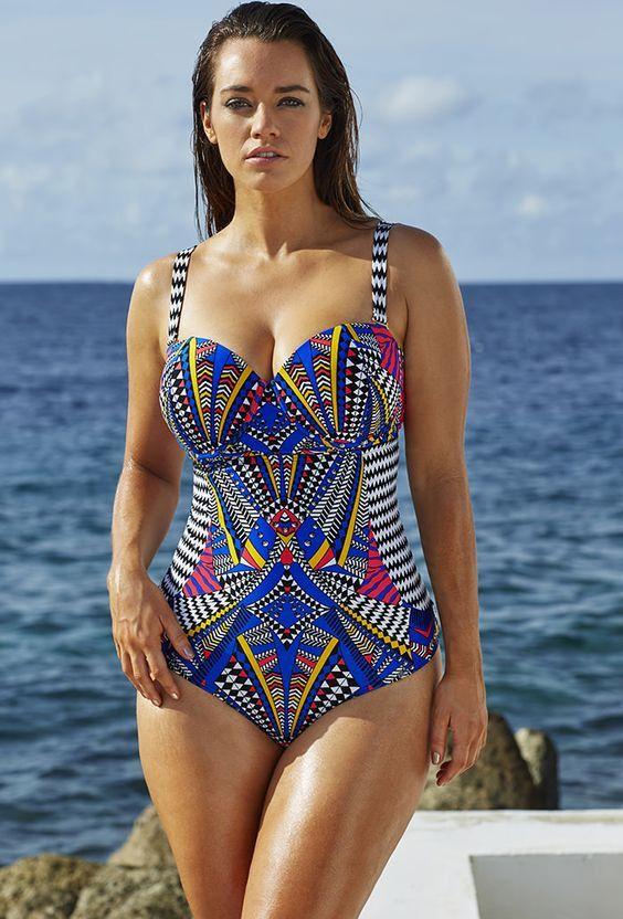 Tribal print Multi color Swimming Suit Plus Size full figure ...