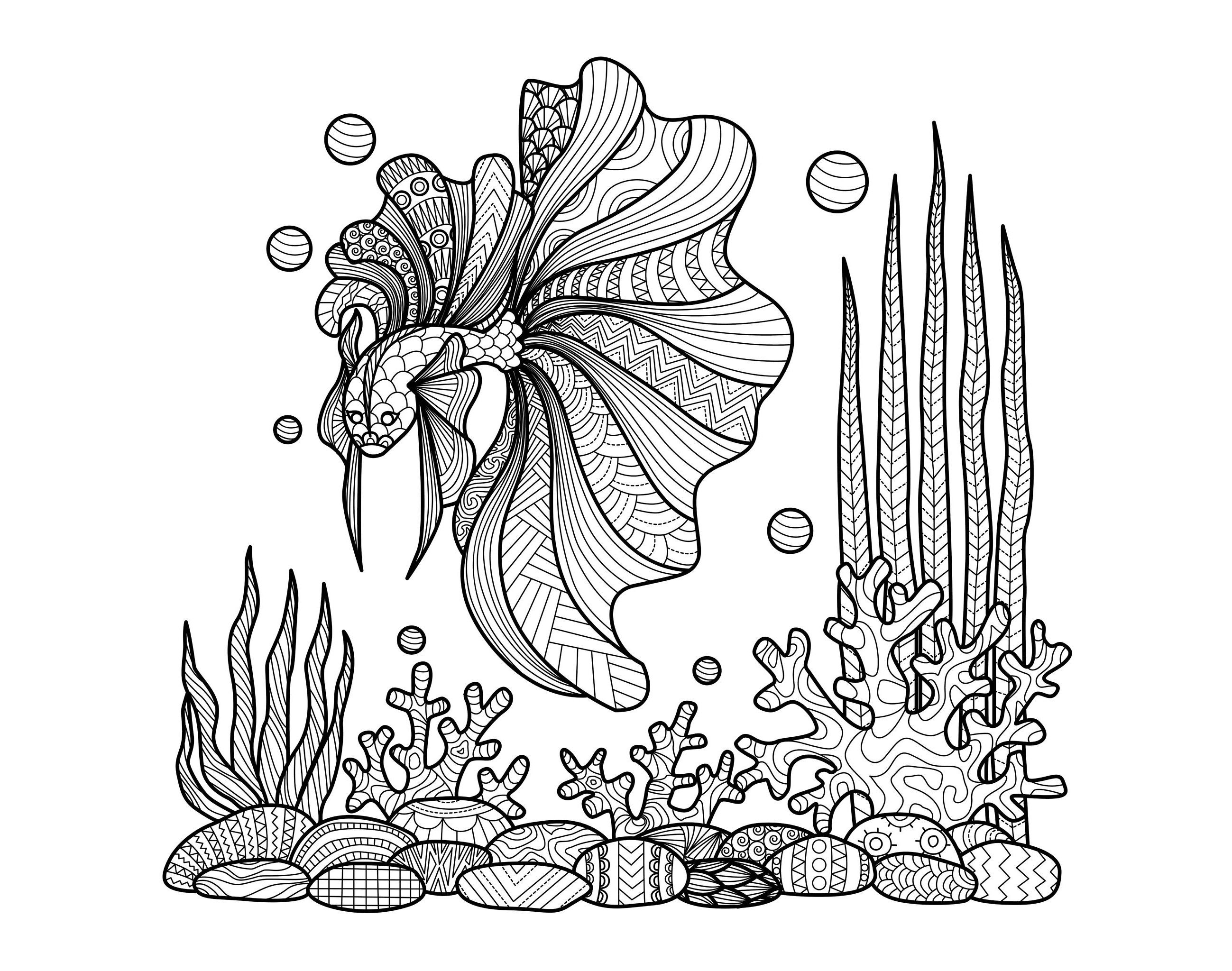 Free coloring page coloring-adult-zentangle-fish-on-corals-by ...