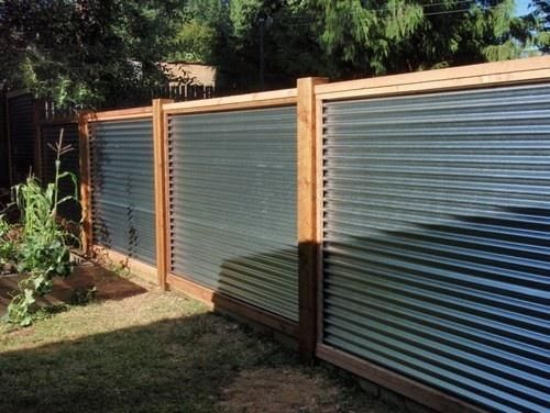 Galvanized Sheet Metal Corrugated Metal Fence Capped In Cedar With 4x4 Cedar Posts Corrugated Metal Fence Privacy Fence Designs Fence Design