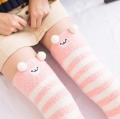 8b688ba54 Pink Monkey Striped Thigh Highs Stockings Socks! So Kawaii! Fluffy ...