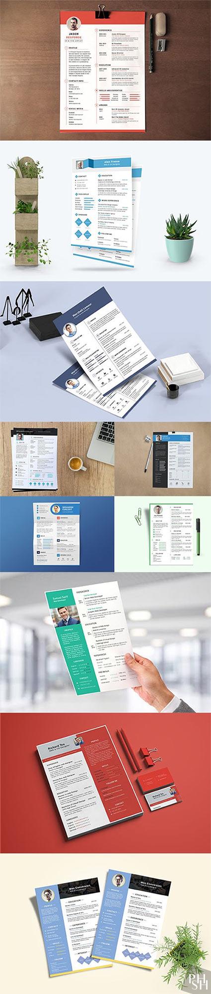 Resume / CV Template PSD Set vol3 Шаблоны резюме для