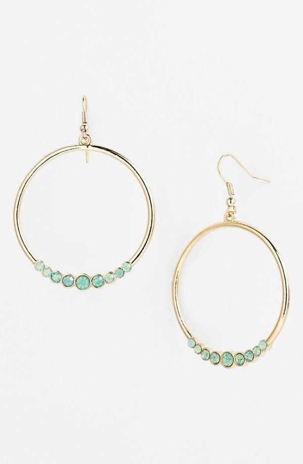 Cute! Mint Stone Hoop Earrings