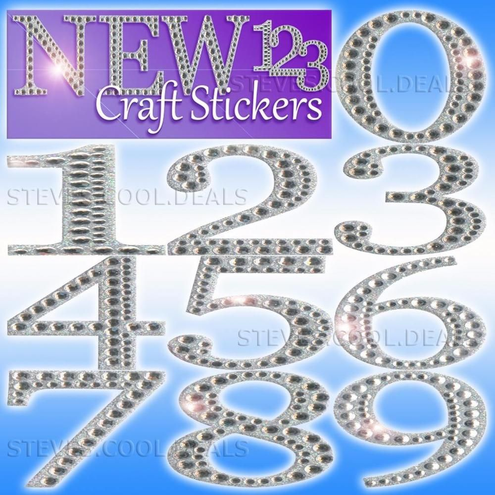 Luxury Craft Stickers Numbers 5cm Large Diamante Glitter Strong Adhesive Backed Ebay Craft Stickers Glitter Wedding Guest Book Decorations