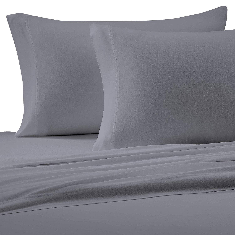Brielle Cotton Jersey Knit T Shirt Sheet Set Twin Xl Grey