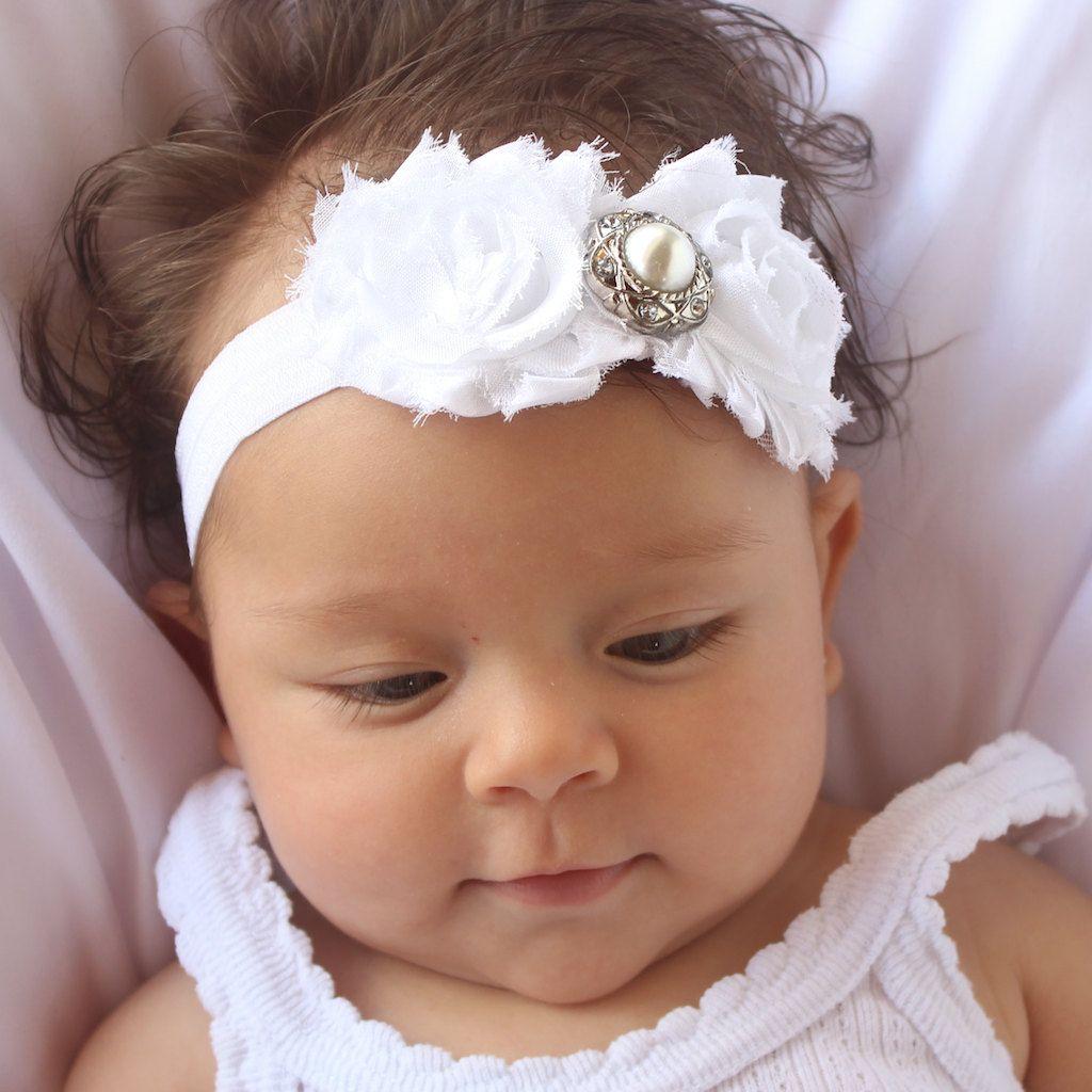 Baby headband white white hair accessory white newborn headband white headband baptism white infant headband baby girl headband white