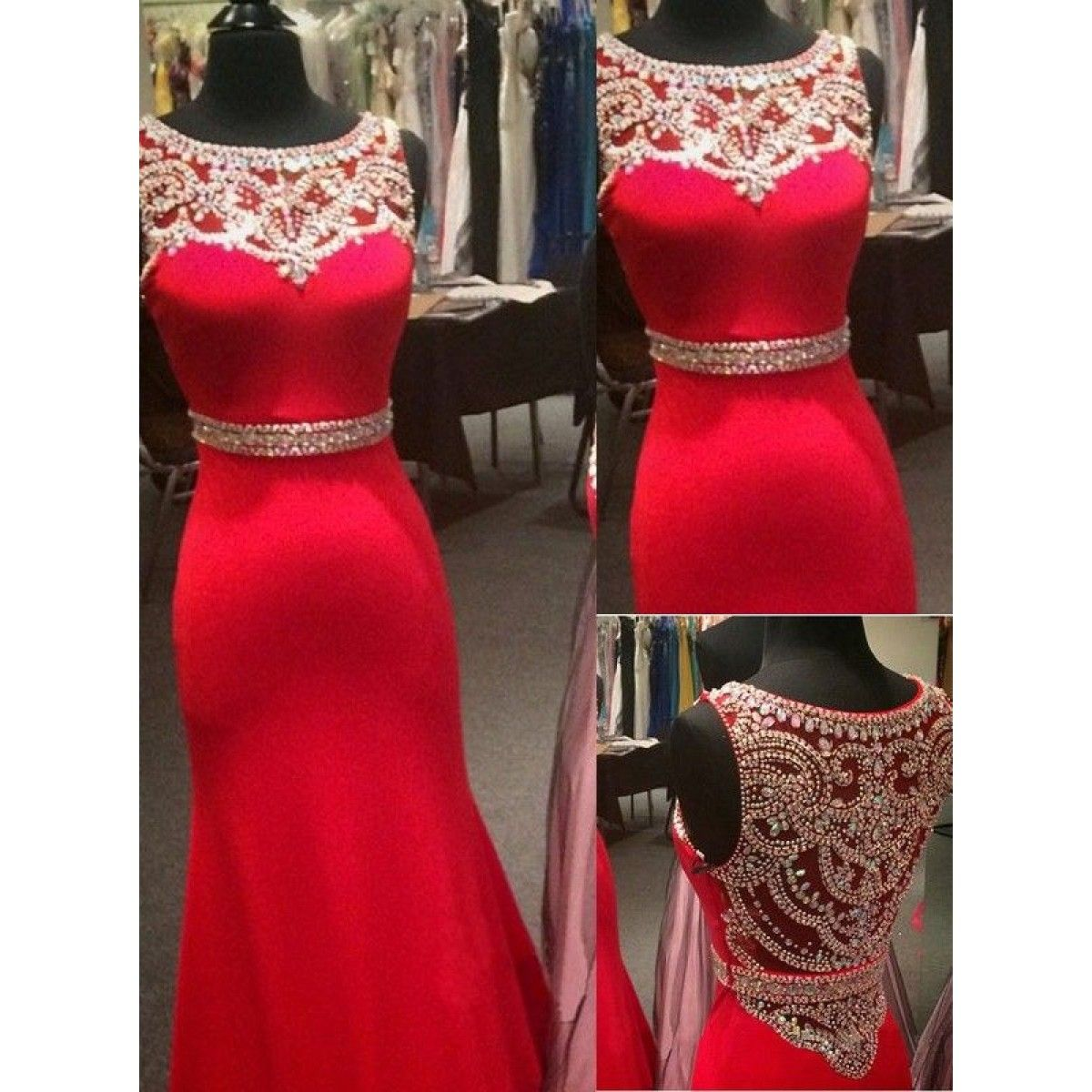 Sexy trumpet boat neck beading red stain prom dresses pd