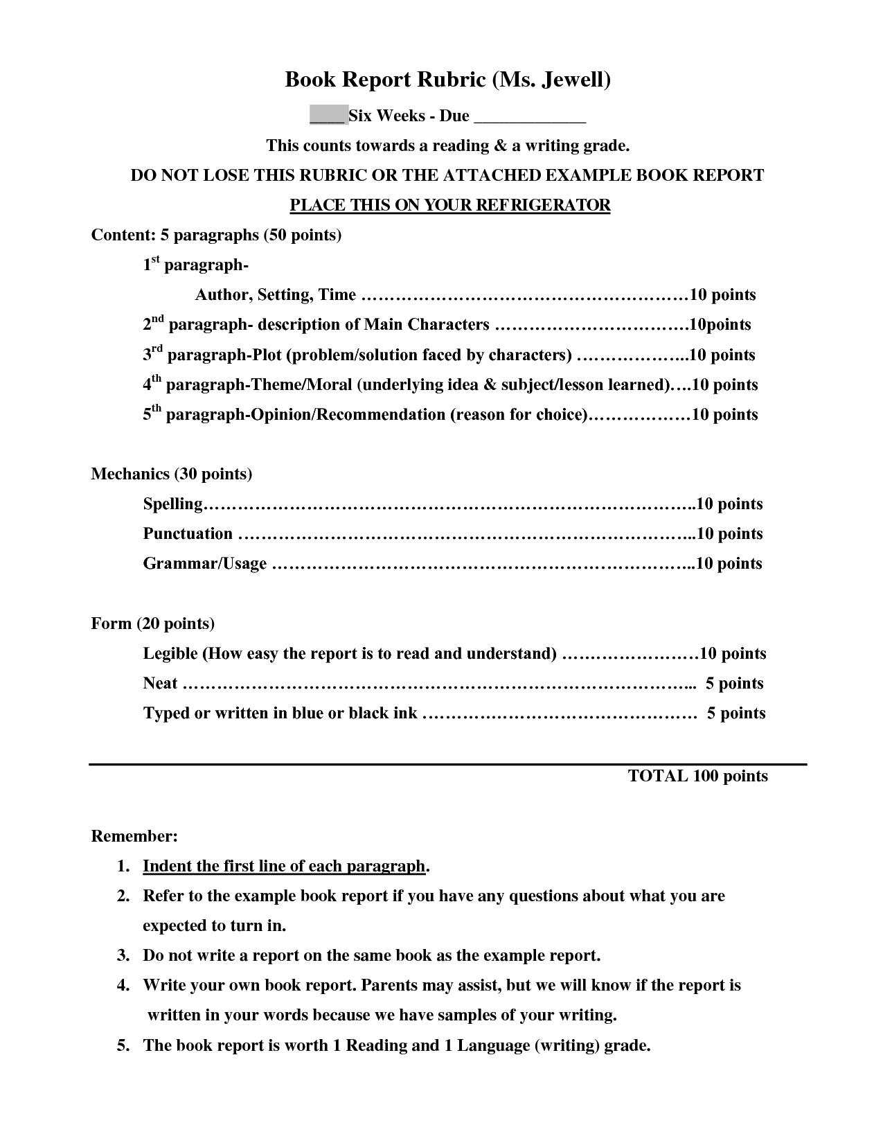 Sample 4th Grade Book Report Format
