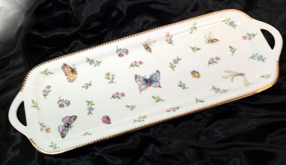 I. Godinger Primavera Butterfly Flowers Bread Serving Tray 16  x 6.25 in Gilt #IGodingerCo