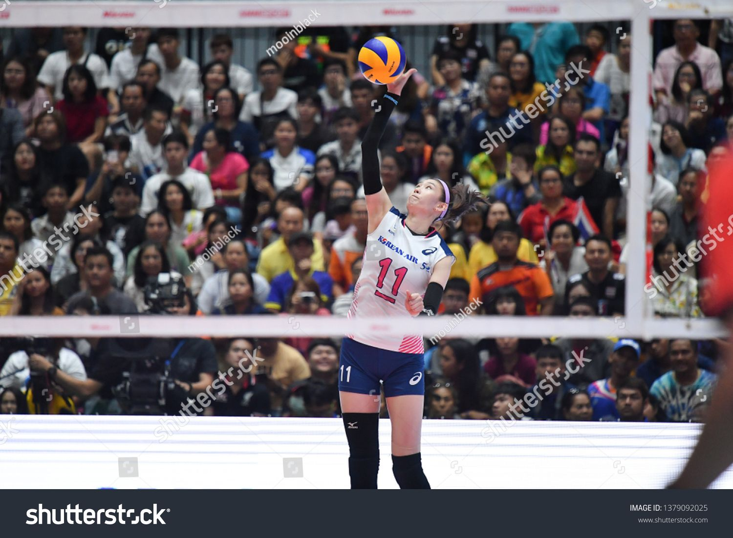 Kim Suji No 11 White Of Korea In Action During The Volleyball Korea Thailand All Star Super Match 2019 At Terminal 21 Hall On Photo Editing Stock Photos Kim