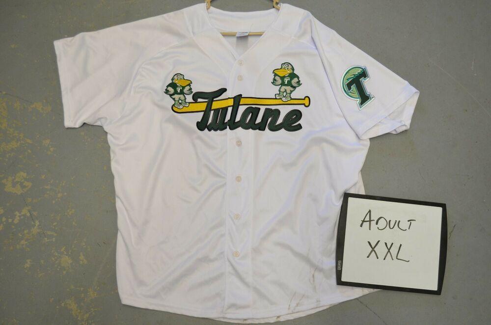 Xxl 2xl Tulane Univ Green Wave White 1 Ncaa Throwback College Baseball Jersey Tulanegreenwave Tulane Baseball Jerseys College Baseball