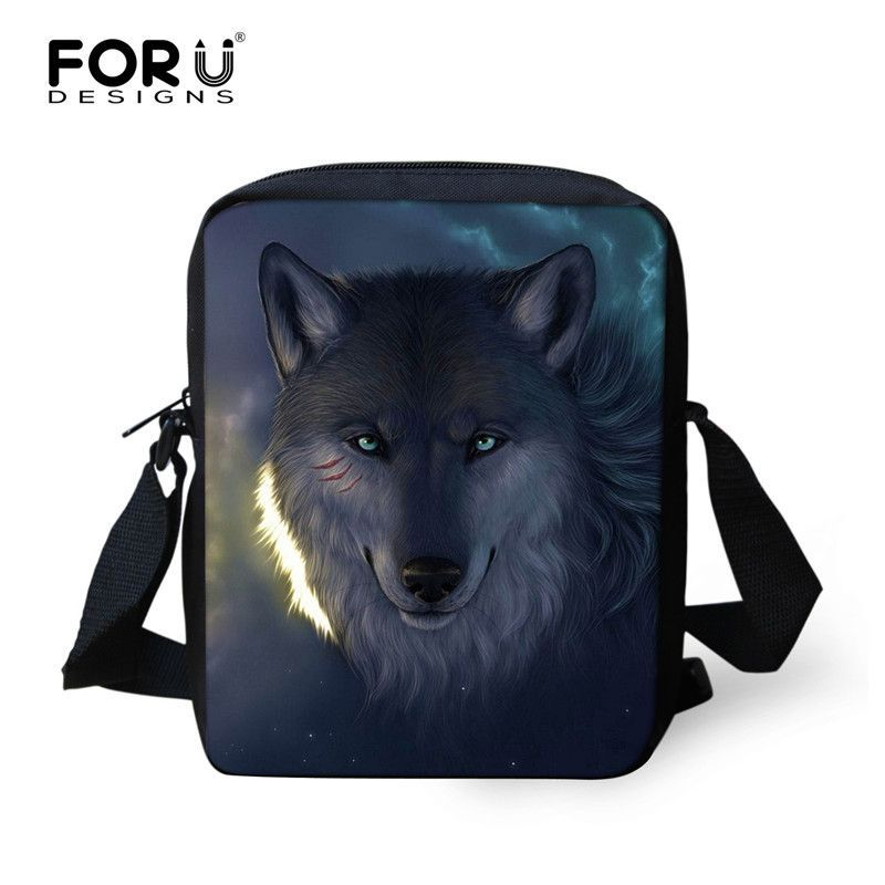 Brand Designer Men Messenger Bags Wolf Tiger Printing Boys Shoulder Bag Leopard Printed Crossbody Bag Men's Travel Bag Handbag