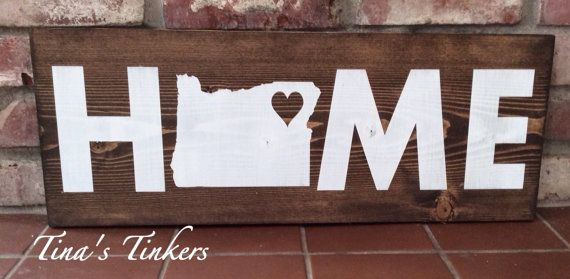 Home state sign. State sign. Home sign. by TinasTinkers on Etsy