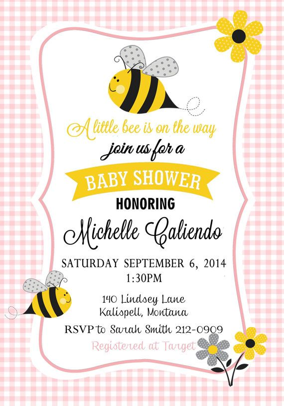 Bumble Bee Baby Shower Invitation  3 Color Choices by Asapinvites
