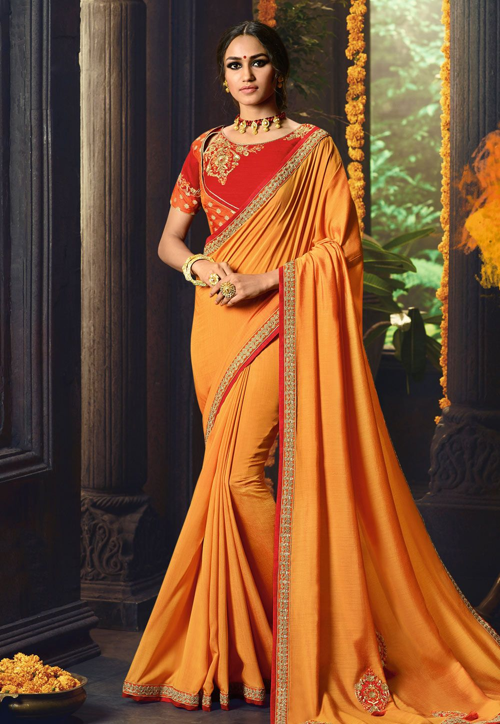 4f080522a92 Buy Orange Cotton Silk Saree With Blouse 154611 with blouse online at lowest  price from vast collection of sarees at Indianclothstore.com.
