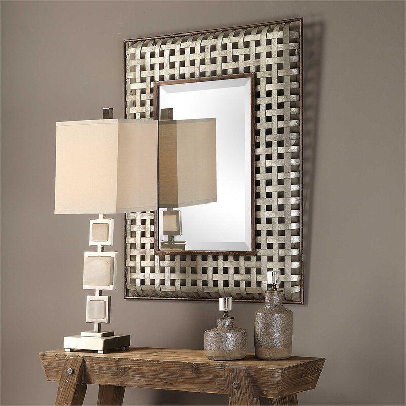 Leday Galvanized Metal Accent Mirror Galvanized Metal Wall Mirror Wall Metal Mirror