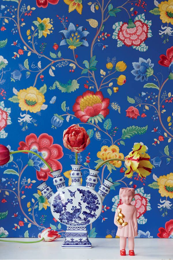 Dark Blue Floral Fancy Wallpaper By Pip Studio Fifty One Percent