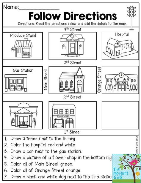 Follow Directions Read The Directions And Add The Details To The Map Fun Activity Kindergarten Social Studies Social Studies Worksheets Map Skills Worksheets Kindergarten map activities worksheets