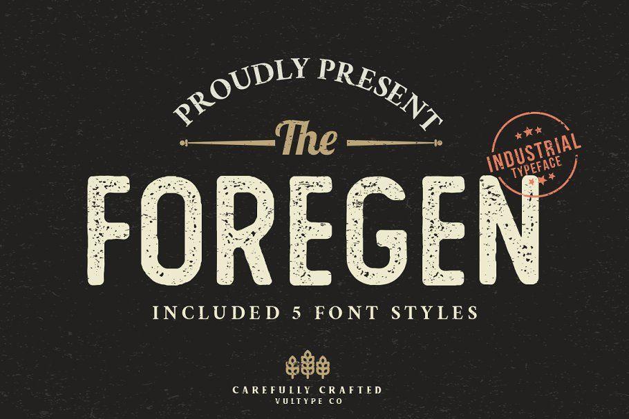The Foregen Vintage Stamp Font Vintage Fonts Industrial Font Sans Serif