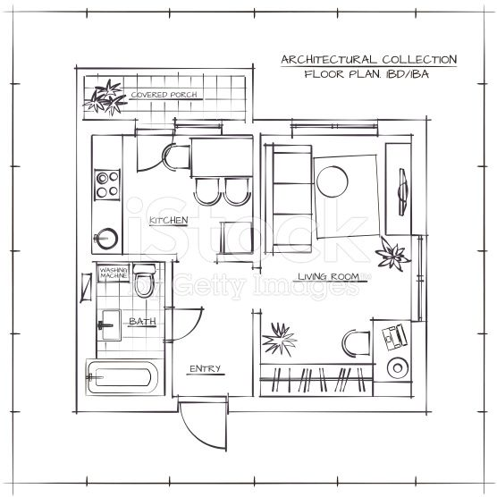 Architectural Hand Drawn Floor Plan One Bedroom Apartment Architectural Floor Plans Floor Plans Interior Design Drawings