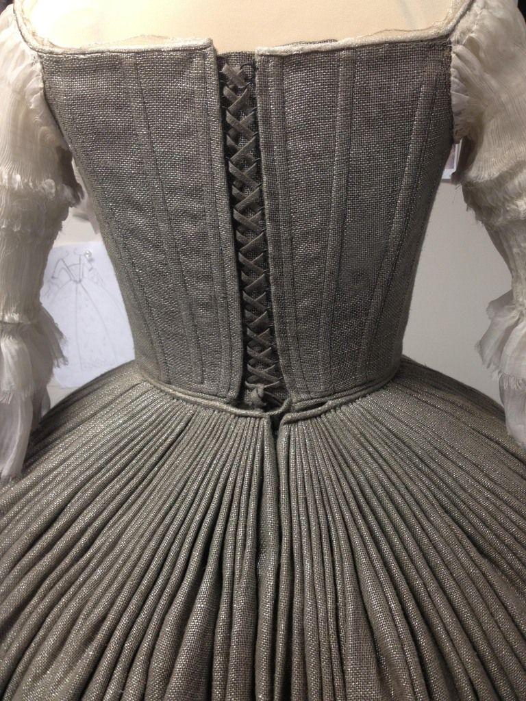 18th century wedding dress  Rear view of pleats Claireus wedding dress on