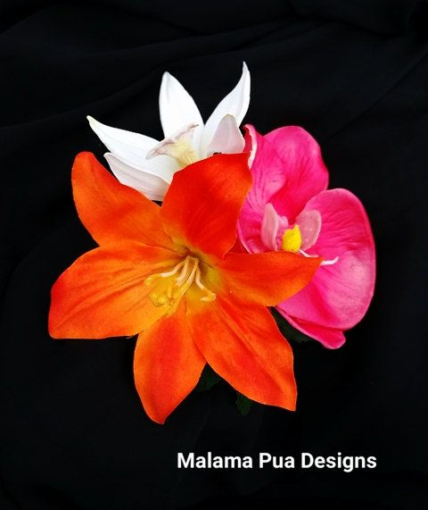 Tropical Hair Clip Bridal Flower Hot Pink Fuchisa Orchid Wedding Headpiece