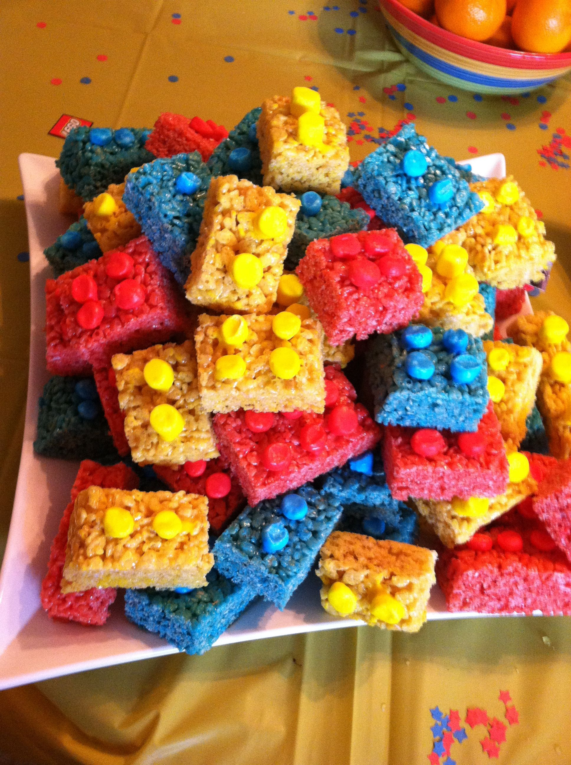 Lego Rice Krispie treats! Looks like you would add food coloring to ...