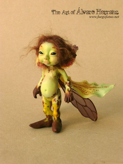 Green leopard orchid sprite  Resin casted OOAK art by FuegoFatuo, €99.95