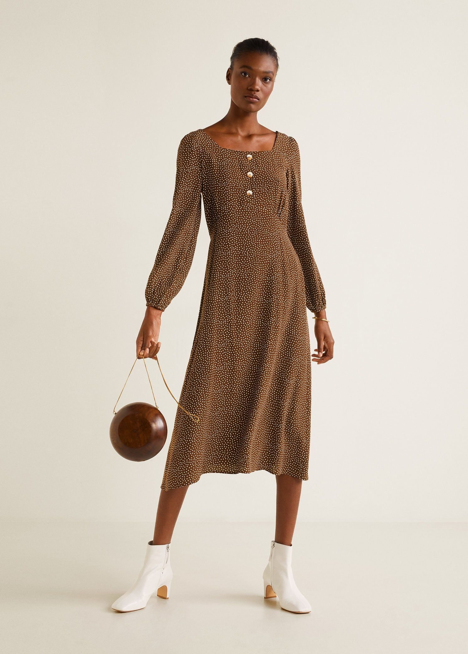 a9af870ad0440 Polka-dot print midi dress in chocolate brown featuring long sleeves and a  flattering straight cut.