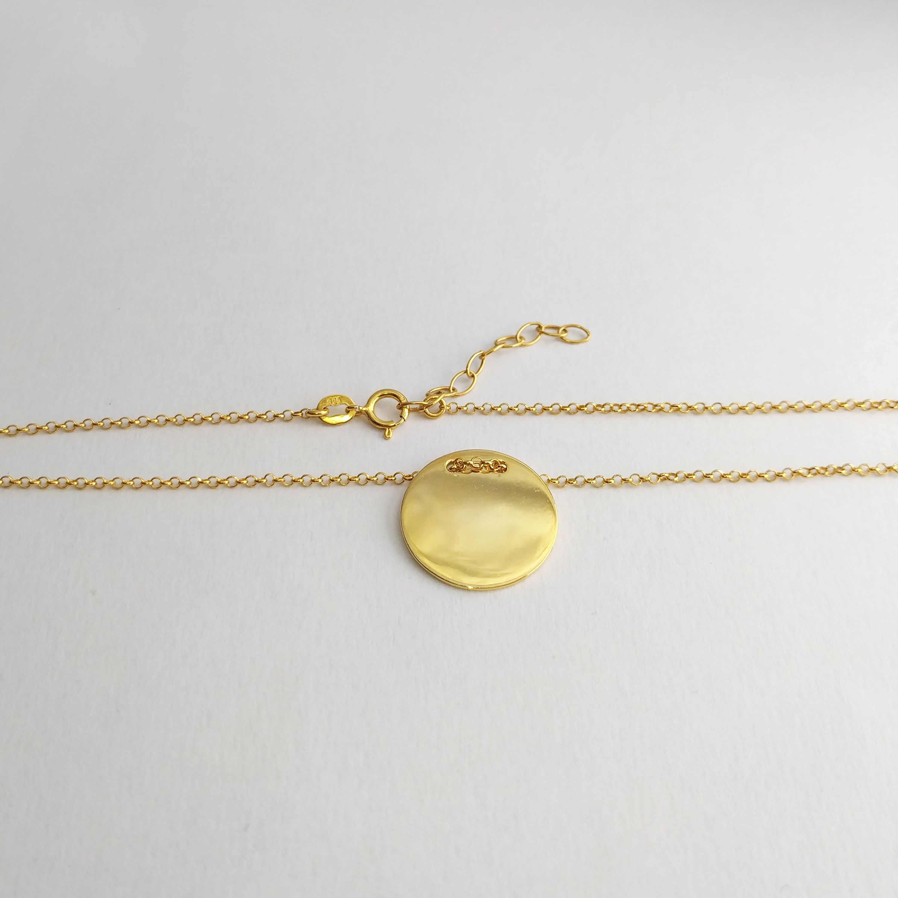 13a89eaae4b5b Shiny Gold Disc Necklace, Round Disc Necklace, 9K/14K Gold filled ...